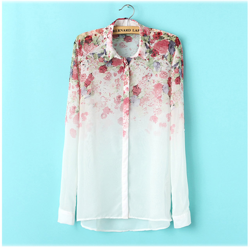 White-See-Through-Women-Loose-Button-Down-Shirt-Blouse-Lapel-Chiffon-Floral-Shirt